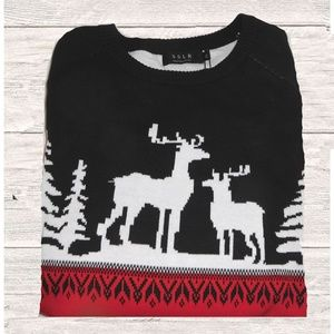 NWT MEN'S BLACK RED CHRISTMAS SWEATER